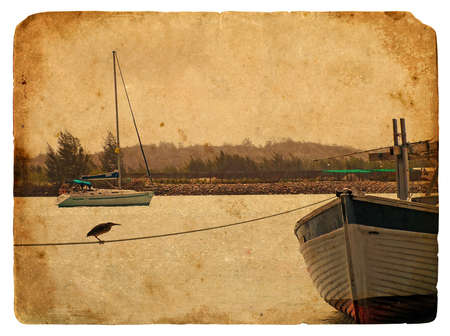 Fishing boat near the shore. Old postcard, design in grunge and retro style photo