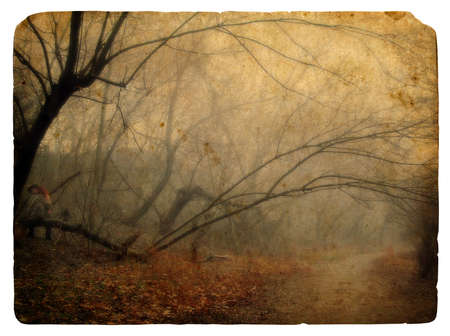 Foggy landscape. Old postcard, design in grunge and retro style