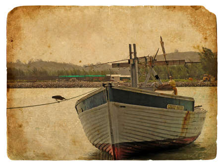 Fishing boat near the shore. Old postcard, design in grunge and retro style