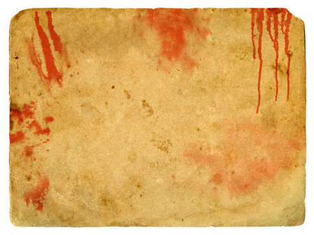 Old paper with blood spots. Isolated on a white background