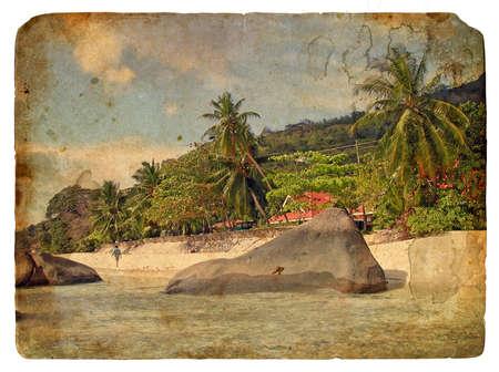 Ocean Beach. Retro postcard, design in grunge and vintage style photo