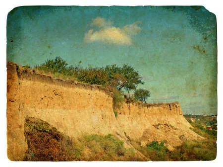 Landslide of soil, natural hazards. Old postcard, design in grunge and retro style photo