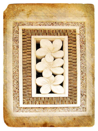 Tropical flower Plumeria - made of stone. Old postcard, design in grunge and retro style