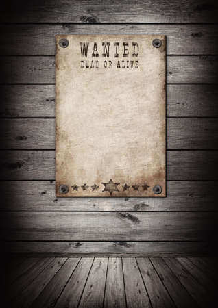 west: Wanted poster in old grunge interior. There is an empty seat for design Stock Photo