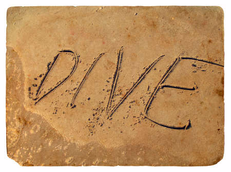 The inscription dive of the sand washed off the wave of the sea. Old postcard, design in grunge and retro style photo