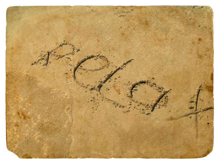 The inscription relax of the sand washed off the wave of the sea. Old postcard, design in grunge and retro style photo