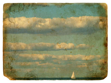 Sailing yacht in the beautiful backdrop of clouds. Old postcard, design in grunge and retro style photo