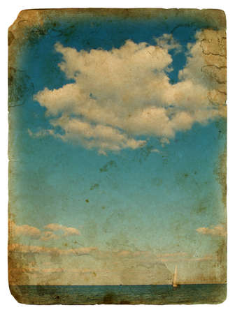 sailing yacht: Sailing yacht in the beautiful backdrop of clouds. Old postcard, design in grunge and retro style