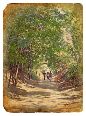 A Walk in the Park. Old postcard, design in grunge and retro style Banque d'images