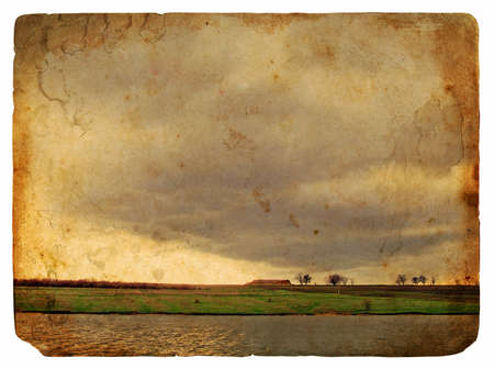 Spring Landscape. Old postcard, design in grunge and retro style photo