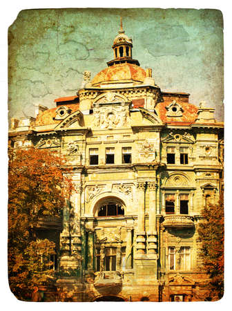 nineteenth: House construction of the nineteenth century. Old postcard, design in grunge and retro style