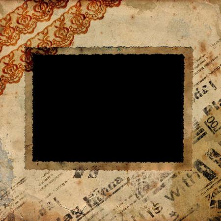 photoalbum: Retro photo framework on textured background vintage Stock Photo