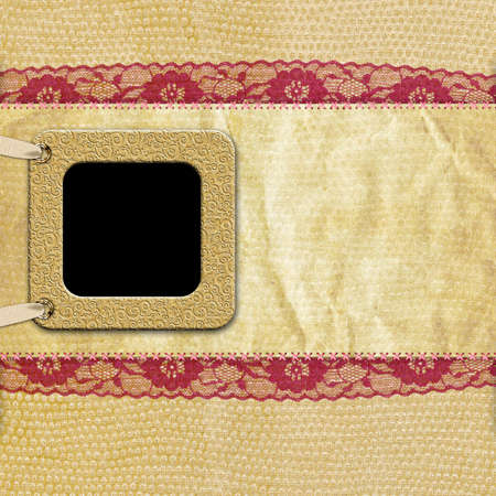 scrap paper: retro Photo Frame on Vintage beige background with red lace
