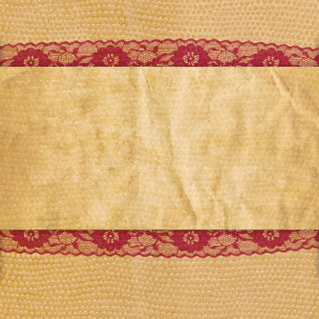 Vintage beige background with red lace photo