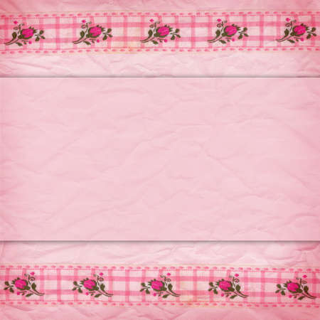 Delicate pink background crumpled paper and a border of lace with roses photo