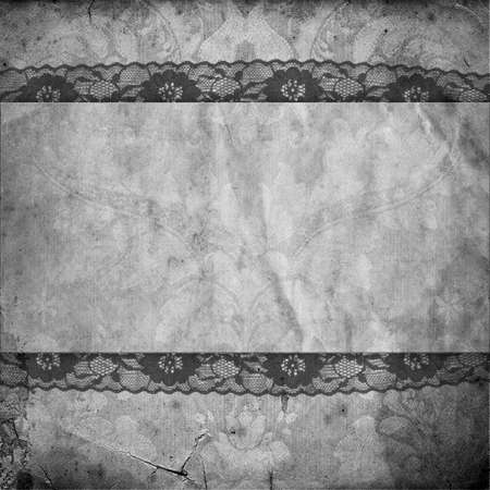vintage black and white background with lace photo