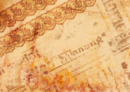 Vintage background - old paper with texture lace, newspaper and rusty spots