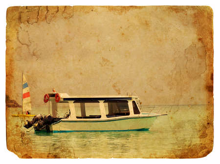 Excursion boat. Old postcard, design in grunge and retro style
