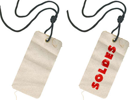 Two fabric tags, empty and with Soldes inscription against white background, no shadows. Stock Photo - 12649849