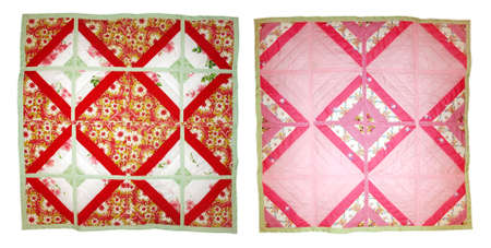 Baby quilt. Handmade patchwork. The front and inside. Isolated on white background