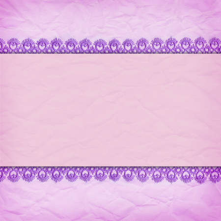 Delicate violet background crumpled paper with a border of lace