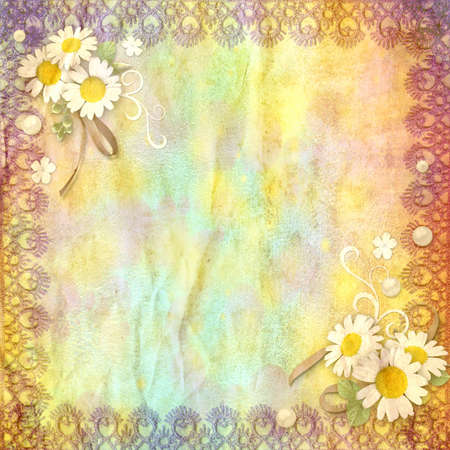 vintage background crumpled paper with a border of lace and chamomile flowers Stock Photo - 12650088