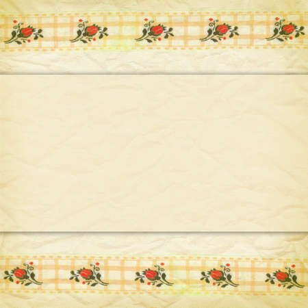 Delicate beige background crumpled paper and a border of lace with roses photo