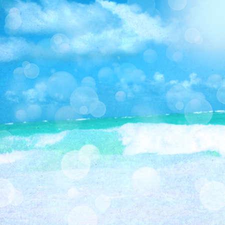 papel tapiz turquesa: El mar y el cielo con nubes. Foto de archivo