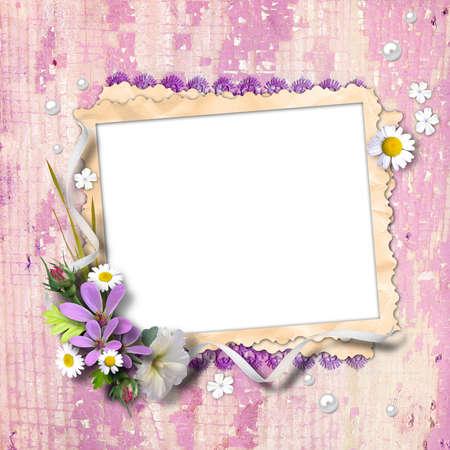 Retro foto kader met bloemen op geweven achtergrond vintage. Page om fotoboeken te ontwerpen Stockfoto