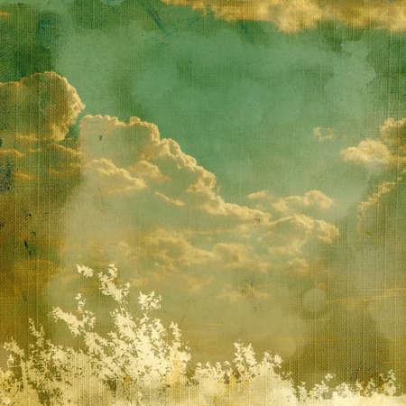 Vintage achtergrond met planten en wolken.