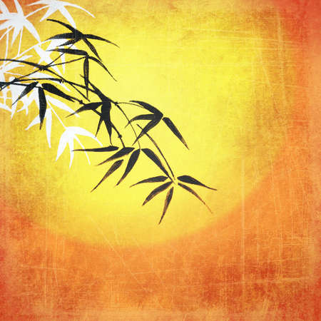 Vintage yellow orange background image for the photo album, photo book with leaves of bamboo photo