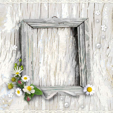 album photo: Retro photo framework with flowers on textured background vintage. Page to design photo books Stock Photo