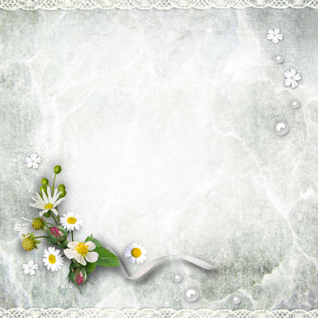 Texture vintage background with flowers. Page to design photo books Banque d'images