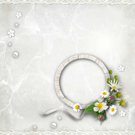 Round Wooden photo framework with flowers on textured  vintage background. Page to design photo books photo
