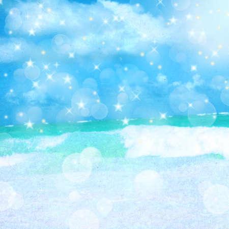 L'océan et le ciel avec des étoiles. Bleu image abstraite arrière-plan flou pour l'album photo, livre photo avec la texture du papier Banque d'images - 12908023