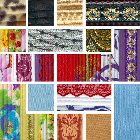 patchwork  collage of colorful pieces of fabric ribbons and lace