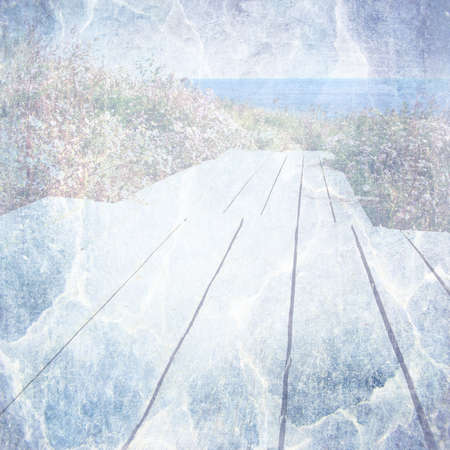 The road from the wooden planks to the sea  Textured background image for the photo album, photo book   photo