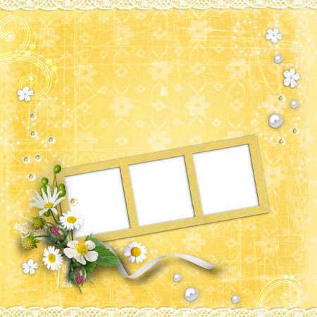 photo album cover: Photo frameworks on yellow textured background vintage.