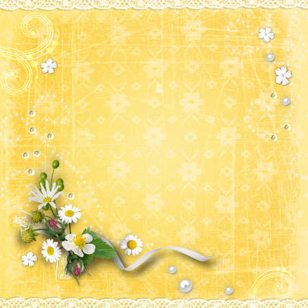 Yellow textured background vintage with a bouquet of flowers, lace and pearls.