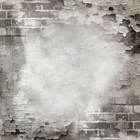 Abstract wall of gray brick and cracked paint. Page to design photo books