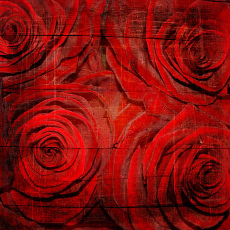 Abstract grunge textured background with red roses for the cover design or photo album pages photo