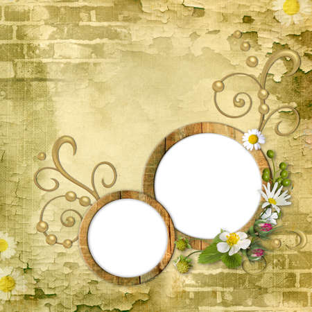 photo collage: Round wooden photo frameworks on textured background vintage with flowers and swirls. Page to design photo books
