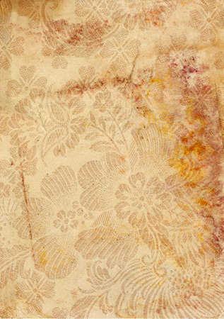 Grunge vintage old paper background. Texture of rusty spots and abstract flowers