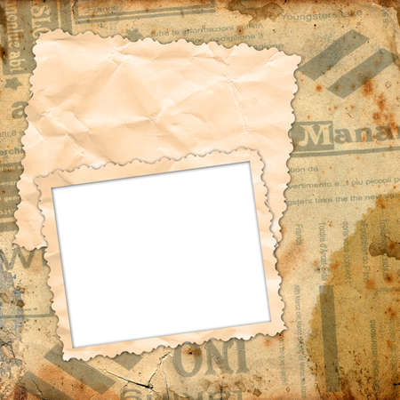 Template for the design of photo books, photo albums and photo frame with old paper