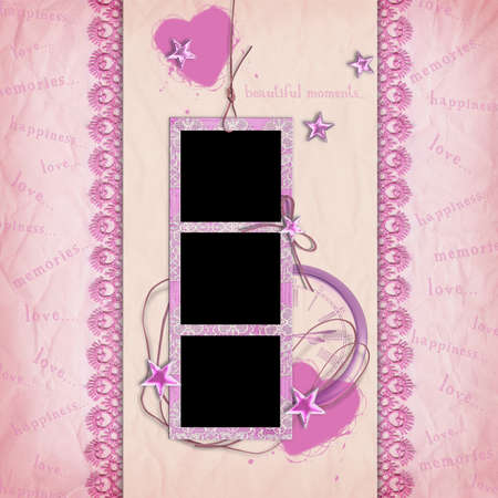 Template with photo frames for design photo album, photo book. Vintage scrapbook style, pink.