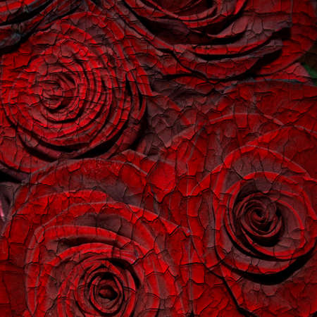 Abstract cracked paint textured background with red roses for the cover design or photo album pages photo