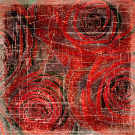 wedding photo album: Abstract grunge textured background with roses for the cover design or photo album pages