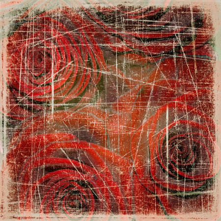Abstract grunge textured background with red roses for the cover design or photo album pages Stock Photo - 13554979