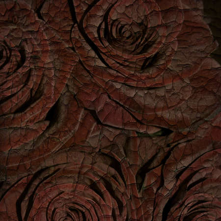 Abstract grunge texture cracked paint with roses for the cover design or photo album pages photo