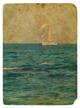 Sailing yacht in ocean  Old postcard, design in grunge and retro style photo